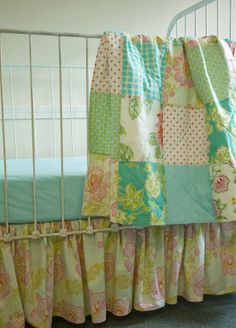 3 Pc  Baby Quilt Gathered Crib Skirt and Sheet  by FernLeslieBaby, $262.00  Roses for Abigail Rose