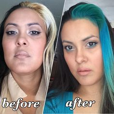 Twisted teal hair color #before & #after #coloredhair