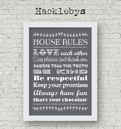 Printable wall art. Available as a download or print in different sizes. #printables #printableart #printathome #prints #digitaldownload #houserules