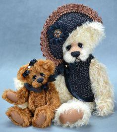 Teddy Bear Set - Matted English Mohair and Schulte Mohair - www.vickylougher.com #artistbear #artistbears #teddybear #teddy #handmade