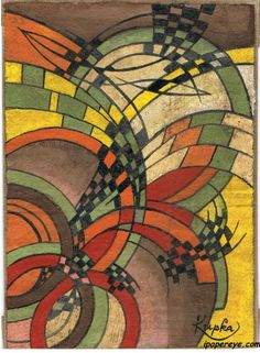 From The ipi House Gallery Abstracts come another favorite, though this is an oil on canvas, rather than our normal comfort zone of paper. KUPKA, Signed.  František Kupka (September 23, 1871 – June 24, 1957) (also known as Frank Kupka or François Kupka) was a Czech painter and graphic artist. He was a pioneer and co-founder of the early phases of the abstract art movement. Kupka's abstract works arose from a base of realism, but later evolved into pure abstract art. ipi Wiki