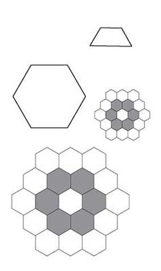 Printable hexagon template and english paper piecing for Quilting hexagon templates free