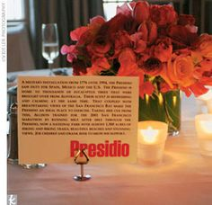 Each table, named after a variety of places the couple visited together.