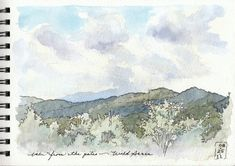 """Illustrated journal page, """"View from Wildacres,"""" ink & watercolor on paper. Blue Ridge Mountains."""