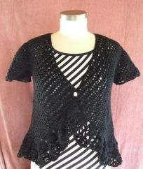 Hand Crocheted Beaded Lacey Spring Time Bolero