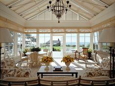In Good Taste:  David Kleinberg Design - fabulous sunroom - love the ceiling