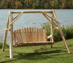 Covered yard swing wooden swing sets canada wood swing for Log swing plans
