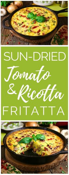 Sun-Dried Tomato & Ricotta Frittata Baked in cast iron, this gluten-free Italian-inspired frittata recipe is made with ricotta cheese, sun-dried tomatoes, fresh basil and all-natural breakfast sausage. Breakfast Sausage Recipes, Breakfast Casserole, Breakfast Frittata, Breakfast Burritos, Ricotta Cheese Recipes, Breakfast Recipes With Ricotta Cheese, Italian Breakfast, Free Breakfast, Cast Iron Recipes