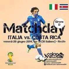 MONDIALI: Gli azzurri sono prontissimi per la sfida, non certo facile, di questa sera ore 18.00 contro la Costa Rica! Si prospetta il ritorno ormai certo di Gigi Buffon. Siete pronti? Pronostici? / The Italian team is ready for the second match against Costa Rica ! Buffon will be back, any prediction? #italia #italiacostarica #italycostarica #worldcup #mondiali #fifabrasil #brasil2014 #pirlo #buffon #balotelli #prandelli
