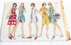 """1970s A Line Tennis Dress Sundress Sleeveless shorts sewing pattern Size 12 or 16 Bust 34 or 38"""" Simplicity 5004 UNCUT FF"""