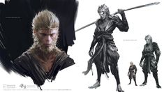 ArtStation - WuKong & mountain deity, yang qi917 Character Concept, Concept Art, Character Design, Fantasy Paintings, Fantasy Art, Digital Paintings, Dark Souls, Journey To The West, Japanese Folklore