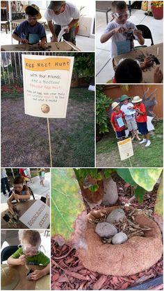 Dinosaur Birthday Party Activities / Paleontology Party Activities. Dinosaur eggs, dinosaur macaroni art, dinosaur rubbings, dinosaur dig