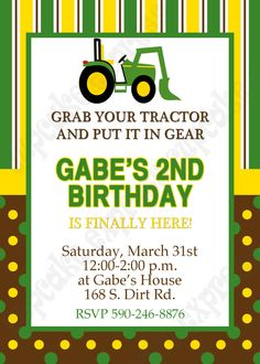 Image detail for -... Deere 1 PRINTABLE Birthday party Invitation green brown yellow tractor