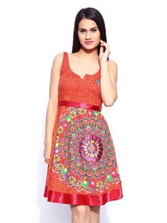 Buy Desigual Orange Printed A Line Dress - - Apparel for Women Premium Brands, Dress Outfits, Summer Dresses, Orange, Clothes For Women, Prints, Stuff To Buy, Style, Fashion
