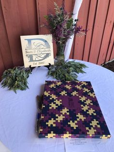 Puzzle Pieces Guestbook Canvas | Guest Book Alternative | Puzzle Theme | Unique Wedding Theme | Customer Photo | Wedding Colors - Beige, Purple, & Navy | peachwik.com