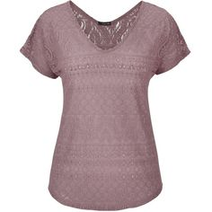 maurices Lace Tee (975 RUB) ❤ liked on Polyvore featuring tops, t-shirts, plum raisin, scoop neck t shirt, pattern t shirt, print t shirts, purple t shirt and short sleeve tee