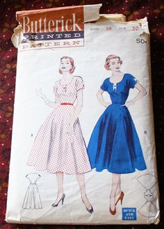 1950's Original Sewing Pattern Dress Bust 38 by SewDecadesAgo