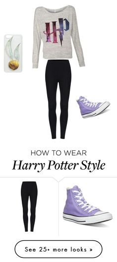 """harry potter"" by monkrymorgan on Polyvore featuring Converse"