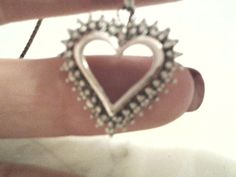 Silver and Diamond Heart Necklace Free Shipping in US by Nickydo, $85.00