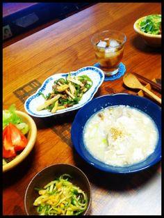 初青椒肉絲!うまかった - 4件のもぐもぐ - 青椒肉絲、豆腐と春雨スープ、きゅうりとメンマ和え、サラダ by chirarhythm