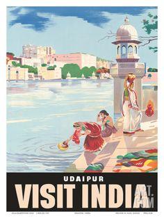 Lake Udaipur: Visit India, c.1957 Art Print at Art.com