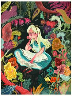 Alice In Wonderland & Those Bitchy Flowers // By: Karl James Mountford Art And Illustration, Chesire Cat, Adventures In Wonderland, Wonderland Alice, Art Plastique, Illustrators, Fairy Tales, Cool Art, Concept Art