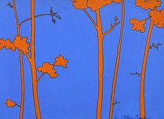 blue and orange   Blue Orange Tree Painting by Anne Marie Brown - Blue Orange Tree Fine ...