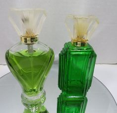 Vintage Coty Emeraude Cologne Spray Lot of 2 Partially Used Green Art Deco #Coty