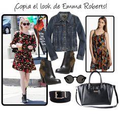 Copia el look de Emma Roberts vestido de flores y botines