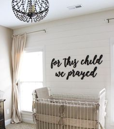 For This Child We Prayed MDF Saying Cutout Typography sign is part of Baby boy rooms - For This Child We Prayed MDF Saying Cutout Typography sign NurseryIdeas Farmhouse Nursery Wall Decor, Baby Decor, Nursery Room, Kids Bedroom, Babies Nursery, Unisex Nursery Ideas, Future Baby Ideas, Accent Wall Nursery, Baby Nursery Ideas For Girl