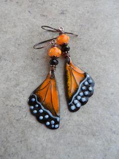 Monarch Wings ... Artisan-Made Enameled Copper by juliethelen
