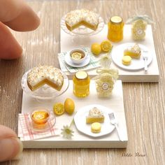 #miniature #food #minifood #lemon #meringue #pie #lemons #macaroons #honey #tea