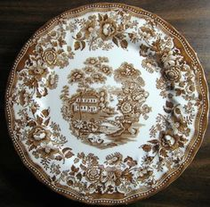 Decorative Dishes - Warm Brown Toile Transferware Chinoiserie Swan Roses Plate L, $29.99 (http://www.decorativedishes.net/warm-brown-toile-transferware-chinoiserie-swan-rose-plate-l/)