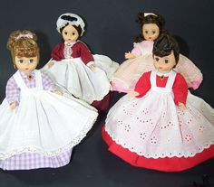 """Madame Alexander-kins Dolls Little Women Marme Jo Meg Beth 8"""" Straight Legs  Madame Alexander-kins Little Women Dolls 8"""" Tall ~ Beth, Marme, Meg & Jo Doll tag is attached in back with name of doll Good display condition ~ Sorry, no box, wrist tags Aprons have slight yellowing due to being displayed All have shoes, petticoats, aprons, dresses #LittleWomen  #MadameAlexander #Dolls"""