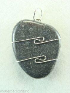 """1.2""""/30mm Master Shamanite 925 silver wire wrapped Pendant & 925 Silver Chain #HeavenEarthLLC #PendantonSolid925SilverChain"""