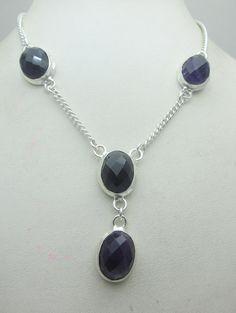 Silver Tone Metal Amethyst Stone Gemstone Statement Necklace Jewelry Fine Quality NK_230 27 GM ready to ship