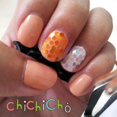 Orange sparkle glitter | chichicho~ nail art addicts