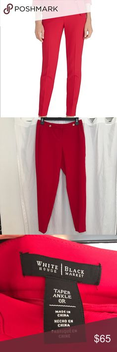 NWOT White House Black Market Red Taper Trousers WHBM Incredible Red Cigarette Pants. Approximate measurements in last photo. Stretchy material. Size 0R. No stains or imperfections. MAKE ME AN OFFER White House Black Market Pants Trousers