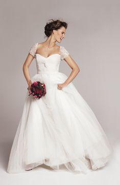 Reem Acra short sleeve wedding dress. The Wedding Scoop Spotlight: Short Sleeve Wedding Dresses