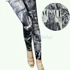 Vogue magazine and newspaper print leggings Adorable Vogue magazine print leggings. Fits size 0-12. Pants Leggings