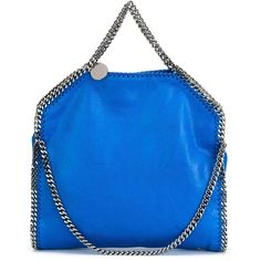 Stella Mccartney 3 Chain Falabella Bag ($745) ❤ liked on Polyvore featuring bags, handbags, light blue, handbags totes, faux leather tote, faux leather purses, blue leather handbags and leather tote purse