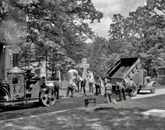 Paving in Arlington National Cemetery from Shorpy Historical Photo Archive :: Angels and Asphalt: 1935