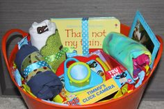 DIY Gift Basket for a 1st birthday - getting your kids excited about giving