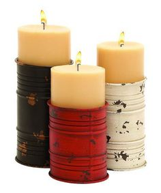Tin can candle holders. Love the primitive finish.