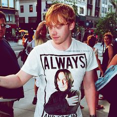 This is awesome. I want that shirt. I would also like to meet Rupert Grint. Seriously. (Everything about this picture is perfect.)