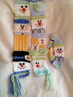 Ravelry: 'Snappy Sampler Snowman Scarf' pattern by Heidi Yates