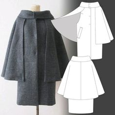 Tamanegi-kobo - Lapis-Lazli / Inverness Cape This is excellent. No sleeves for bulk or overheating. It's beautiful. Diy Clothing, Sewing Clothes, Clothing Patterns, Dress Patterns, Fashion Sewing, Diy Fashion, Ideias Fashion, Womens Fashion, Hijab Fashion