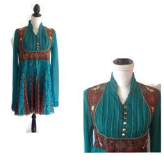 Vintage Bohemian hippie dress with beautiful colors and details Teal or turquoise blue with brown cotton with gold printed pattern The