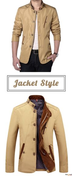 US$49.99 + Free Shipping. Mens Casual Business Slim Fit Zipper Single-breasted Stand Collar Personality Fashion Jacket. Color: Navy, Khaki. US Size: S - 2XL. You Gonna Like It! #jacket