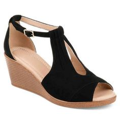 a0fad0360eb Co Brinley Womens Comfort-sole Ankle-strap Center-cut Wedges